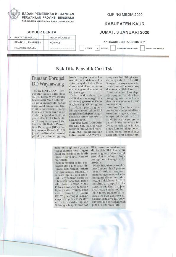 Naik Dik Penyidik Cari Tsk Bpk Perwakilan Provinsi Bengkulu
